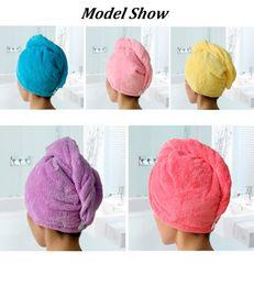 Wholesale Microfiber Dryer - New Fashion Women Hair Towel Bathroom Super Absorbent Quick-drying Microfiber Bath Towel 5 Colors Hair Dry Cap Salon Towel 25x65cm