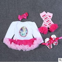 Wholesale Long Girls Shoes - Baby Girls Romper Winter Newborn Baby Long Sleeve Christmas Romper Ruffle Lace TUTU Dress Leg Warmers Baby First Walkers Shoes Party Dress