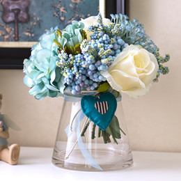 Wholesale Heart Glass Vase - 1 Set Artificial Flowers Rose Peony Bouquet Blue Heart Open Conical Glass Vase Wedding Home Shop Decoration Fake Flower