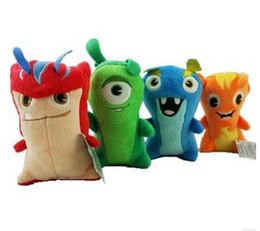 Wholesale Months Stones - 4pcs set Slug Elf Slugterra stone collision healing spirit Short plush toys doll 15cm for children kids boys girls birthday gift