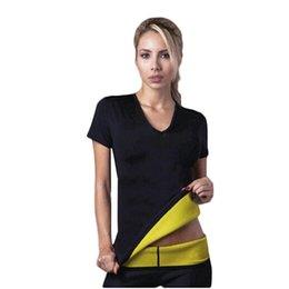Wholesale Neoprene Slimming Shorts - Hot Shapers Stretch Neoprene Body Shaper Vest Short Sleeve T-Shirt Gym Fitness Shirt Stretch Neoprene Slimming Body Shaper vest