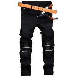 Wholesale Leather Harem Trousers - Fashion Mens Black Jeans Pants Slim Fit Zipper Denim Joggers Leather Patchwork Casual Brand Designer Trousers E0132