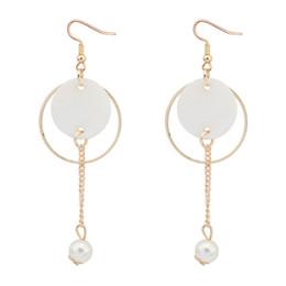 Wholesale circular studs - New Charm Vintage Tassel Circular Circle Shell Drop Earrings For Women Preal Long Dangle Earrings Ear Fashion Jewelry Gifts