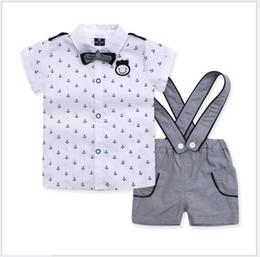 Wholesale Bowtie Suspenders - 3 Pcs Set 2016 Baby Boys Navy Style Clothing Sets Children Short Sleeve Anchor Shirt+Suspender Shorts+Bowtie Kids Suits Boy Outfits