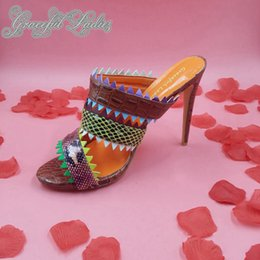 Wholesale Colorful Womens Shoes - 2016 Real Colorful Sandals For Womens Cheap Slip On High Thin Heels Custom Made Plus Size Evening Shoes Summer Style New Arrive Hot