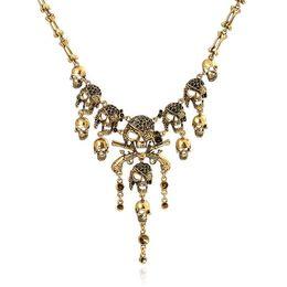 Wholesale Pirates Caribbean Jewelry - Fashion Pirates of the Caribbean Design Choker Jewelry Vintage Bones Chains Rhinestones Skulls Pendants Necklaces Gold Silver