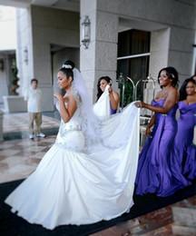 Abiti modesti economici per le donne online-2017 Modest Africa Arabia Saudita Sirena Abiti da sposa Economici donne sexy Abiti in pizzo Appliques in rilievo vestido de festa