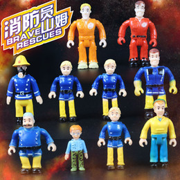 Wholesale Fireman Sam Figures - 4-7cm Fireman Sam Action figure blocks For Kids toy Hard PVC plastic smoby sam juton doll 10pcs 1set