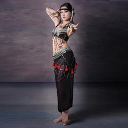 Wholesale Belly Dancing Bra Scarf - 3pcs Set Tribal Fusion Belly Dance Clothing Performance Halter Bra, Triangular Hip Scarf with Metal Chain Tribal Dance Pants