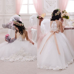 Wholesale 3t Holiday Dresses - 2018 Beautiful Wedding Party Holiday Birthday Bridesmaid Flower Girl Ivory and Beige Tulle Dresses Floral Appliqued Sash Kids Tutu Dress