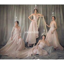 Wholesale Short Bridesmaids Dresses Hands - Light Pink Mismatched 2017 A line Bridesmaid Dresses Sweetheart sleeveless Zipper 3D-Floral Appliques Empire Hi-Lo Sweep Train Bridal Gowns