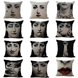 Wholesale Yellow Red Girl Bedding - NEW Fashion Cotton Linen Girls Ladies Printed Square Cushion Cover Sofa Bed Throw Pillow Case Home Decor