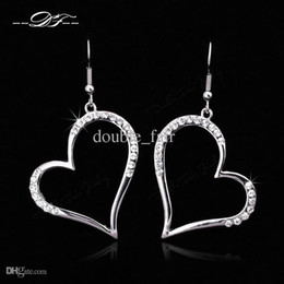 Wholesale Looking For Gift Wholesaler - Heart Look CZ Diamond Inlaid Drop Earrings Wholesale 18K Gold Plated Crystal Fashion Jewelry For Women Gift brincos joias DFE441