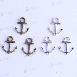 Wholesale Silver Anchor Charm Necklace - New fashion retro anchor Hook Pendant antique silver bronze for DIY jewelry pendant fit Necklace or Bracelets 450pcs lot 2493