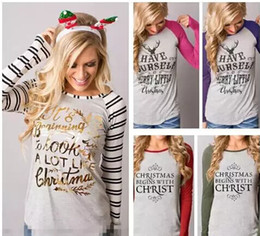 Wholesale Tshirts Panel - Women Christmas Long Sleeved Tshirts Letters Printed Elk Striped Colors Patchwork O-neck Bottoming Tops Fashion Tees
