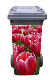 Wholesale Tulips Wall Decal - DIY red tulip Adhesive Removable Waterproof Sticker Decals Rubbish bin trash can Cover sticker for 240liter-37x82cm(14.5''*32.2'')