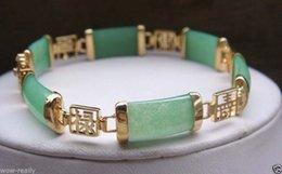Wholesale Gemstone Buy - 2016 hot buy The pearl jade silver bracelet ring earring necklace>>>>>New Green Jade Gemstone 18KGP Fortune Longevity Luck Link Bracelet