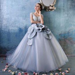 Wholesale Debutante Dresses Short - Cinderella Dusty Blue Debutante Ball Gowns Luxury Pearls 3D floral Short Sleeves Full length Princess Quinceanera Dresses Sweet 15 Girls