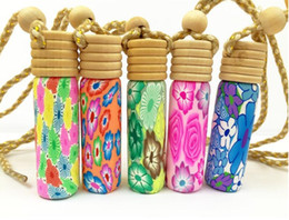 Wholesale Car Clay Free Shipping - Free shipping 10ml car perfume bottles with wooden polymer clay empty small perfume in refillable bottle