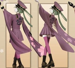 Wholesale Miku Hatsune Hat - Japanese Game Vocaloid Hatsune Miku Cosplay Senbonsakura Ver Costume for Women Top+ Skirt +Socks+ Hats+Gloves per Set