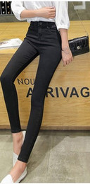 Wholesale purple ladies jeans - 2016 autumn fashion edition, high elastic jeans, ladies trousers, hipster pencil pants, high waisted jeans.Women's Clothing.washed.long.