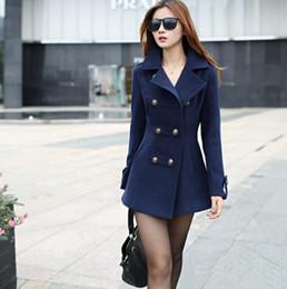 Wholesale Ladies Woollen Jackets - women winter wool coat women's double breasted coats ladies long blue red camel woollen jacket female plaid overcoats