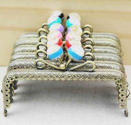 Wholesale Coins Purse Metal Frame - Wholesale-10pcs lot10.5CM Candy Stripe Bead Bronze Metal Coining Square Pattern Purse Frame Kiss Clasp Bag Accessories FK83 Free Shipping