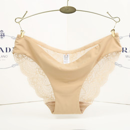 Wholesale Panties Woman Trace - 2017 women sexy ice silk non-trace breathable underwear low waist briefs sexy lace panties
