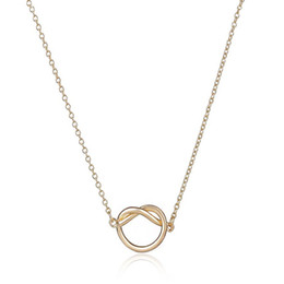 Wholesale Heart Knot Necklace - Hot Selling New Maxi Colar Simple Love Heart Knot Pendant Couple Jewelry 18 K Gold And Silver Plated Women Link Chain For Your Angel