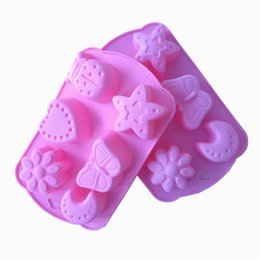 Wholesale Moon Candies - 6 Even Flower Butterfly Star Moon Shape Muffin Case Candy Jelly Ice Cake Silicone Mould Mold Baking Pan Tray