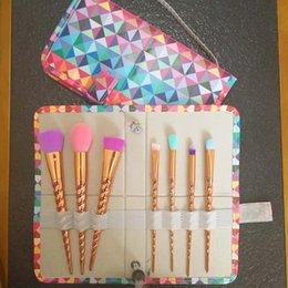 Wholesale Makeup Brush 7pcs Set - Makeup brushes sets cosmetics brush 7pcs bright color Spiral shank make-up brush unicorn screw makeup tools