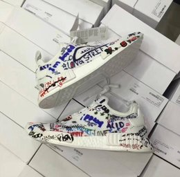 Wholesale Painting Fabrics - 2017 New Vetements X NMD R1 Running Shoes Top quality Real Boost Graffiti Painted Men Womens Outdoor Casual Shoes,discount Cheap
