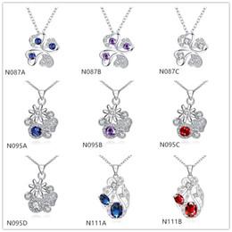 Wholesale Cheap Sterling Silver Pendants - Brand new fashion women's gemstone 925 silver necklaces pendant 10 pieces mixed style,cheap sterling silver pendant necklaces GTN3
