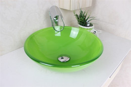 Wholesale Glass Wash Basin Sink - Emerald green wash basin sink basin bathroom basin Tempered Glass Vessel Sink With Faucet Set N-493