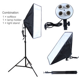 Wholesale Photo Socket - Photography diffuser Photo Studio Accessories 100-240V Four Socket Lamp Holder With 50*70cm Softbox include Light Stand
