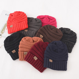 Wholesale Factory Labels - CC Beanie Knitted Cap 17 colors Winter Warm Hat Unisex Simple cc Design Chunky Soft Knitted Beanies Skull Beanies With CC Label factory C772