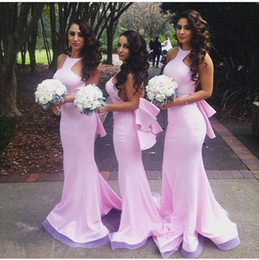 Wholesale Elastic Stretch Bows - 2016 Beautiful Sexy Mermaid Crew Blush Pink Junior Bridesmaid Dresses Sheath Backless Stretch Satin Party Evening Gowns