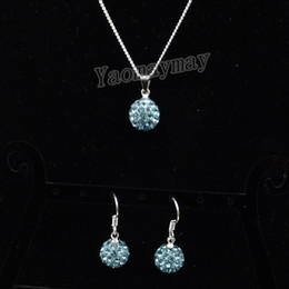 Wholesale Shamballa Ball Earrings - Rhinestone Shamballa Jewellery Set Lake Blue Disco Ball Pendant Earrings And Necklace For Women 10 Sets Wholesale