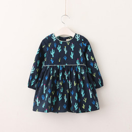 Wholesale Lolita Clothing Wholesaler - Everweekend Sweet Children Print Cacti Autumn Ruffles Girls Long Sleeves Dress Clothing Blue and Yellow 2 Colors Baby Dress