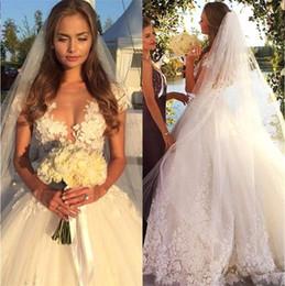 Wholesale Unique Designer Dresses - Designer White Appliques Flower Lace Ball Gown Wedding Dresses 2017 Princess Short Sleeves Arabic Bridal Gowns Unique Long Dress For Wedding