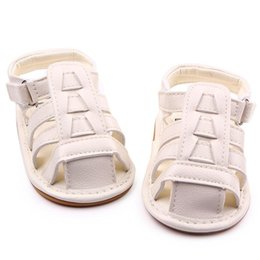 Wholesale baby boy strap sandals - New Wholesale Soft TPR Hard Sole Baby Shoes PU Leather Gladiator Sandal Hook&Loop Infant Prewalker Wedding Shoes for Girls Boys Zapatos Bebe