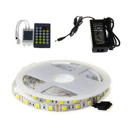 Wholesale Smd Led Dual Color - SMD 5050 LED Strip Light Temperature dual White Color One LED DC 12V+24keys Remote Controller+5A Power supply