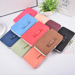 Wholesale Card Bows - Bow Wallet Women Long Purse Hasp Design Cell Phone Wallets PU Leather Card Holder Purse For Ladies Clutches OOA3008