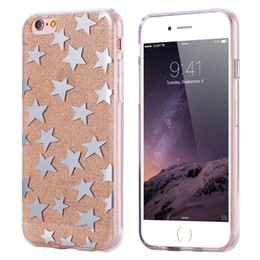 Wholesale Iphone Covers Gold Crystal - Bling Glitter Sparkle Electroplate Star Pattern Crystal Clear Soft TPU Case Cover for Apple iPhone 7 6s 6 5s 5 iphone7 iphone6 Plus Cases