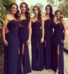 Wholesale Silver Satin Wedding Reception - Dark Navy Sweetheart Bridesmaid Dresses 2017 Mermaid Split Evening Formal Wear Gowns Backless Formal Wedding Guest Reception Gowns Cheap