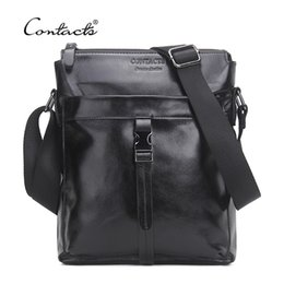 Wholesale Small Leather Messenger Bag Men - CONTACT'S Famous Brand Genuine Cow Leather Men Bag Casual Business Mens Messenger Bag Vintage Men's Crossbody Bag Bolsas Male