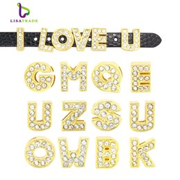"Wholesale 8mm Slide Charms Numbers - 130pcs 8mm Full Rhinestone Gold Letters English Alphabet "" A-Z ""DIY Slide letter Charm fit Bracelet  wristband LSSL07*130"
