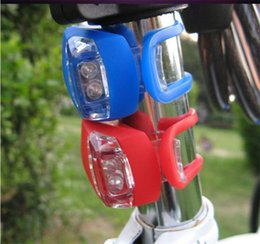 Wholesale Silicone Bike Light Wholesale - Bicycle Cycling lamp Silicone Bike Head Front Rear Wheel LED Flash Bicycle Light Lamp black red White Black include the battery Free Shipp