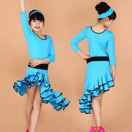 Wholesale Dancewear Latin Dress - Hot Sales Latin Dance Dress for Girls Fashion Ballroom Dancing Dress Girl Dancewear Kids Stage Performance Costume UA0172