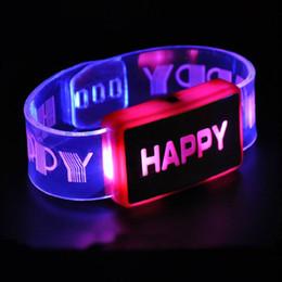 pulsera led rosa Rebajas Al por mayor- LED Flash Happy Pulsera Color cambiante Party Club Stage regalo (rosa)